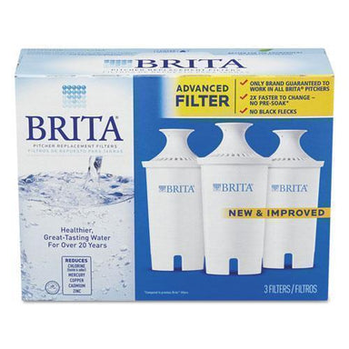 Brita WATER FILTER PITCHER ADVANCED REPLACEMENT FILTERS, 3-PK, 8 PKS-CARTON-Brita®-Omni Supply