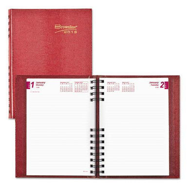Brownline COILPRO DAILY PLANNER, RULED 1 DAY-PAGE, 8 1-4 X 5 3-4, RED, 2019-Brownline®-Omni Supply