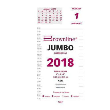 Brownline DAILY CALENDAR PAD REFILL, 6 X 3 1-2, 2019-Brownline®-Omni Supply