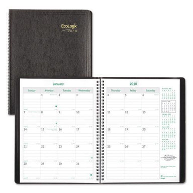 Brownline ECOLOGIX RECYCLED MONTHLY PLANNER, 11 X 8 1-2, BLACK SOFT COVER, 2019-Brownline®-Omni Supply