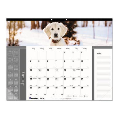 Brownline PETS COLLECTION MONTHLY DESK PAD, 22 X 17, PUPPIES, 2019-Brownline®-Omni Supply
