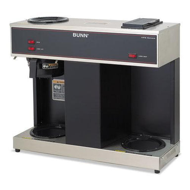 BUNN Pour-O-Matic Three-Burner Pour-Over Coffee Brewer, Stainless Steel, Black-BUNN®-Omni Supply