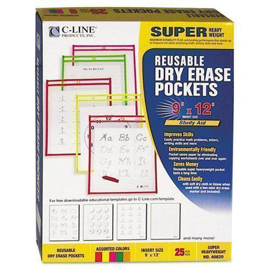 C-Line Reusable Dry Erase Pockets, 9 X 12, Assorted Neon Colors, 25-box-C-Line®-Omni Supply