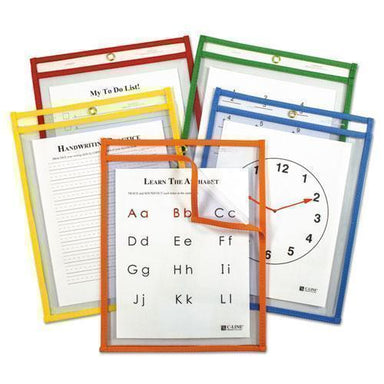 C-Line Reusable Dry Erase Pockets, 9 X 12, Assorted Primary Colors, 5-pack-C-Line®-Omni Supply