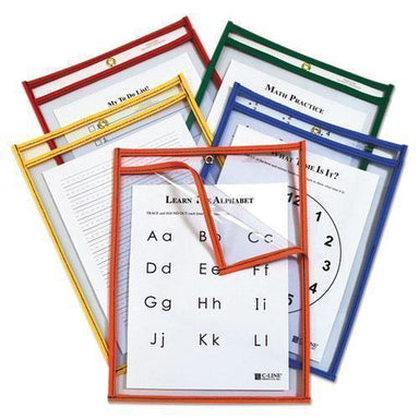 C-Line Reusable Dry Erase Pockets, Easy Load, 9 X 12, Assorted Primary Colors, 25-pack-C-Line®-Omni Supply
