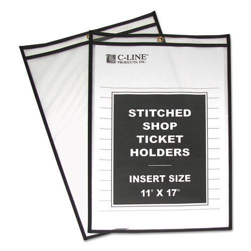 "C-Line SHOP TICKET HOLDERS, STITCHED, BOTH SIDES CLEAR, 75"", 11 X 17, 25-BOX-C-Line®-Omni Supply"