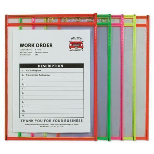 "C-Line STITCHED SHOP TICKET HOLDER, NEON, ASSORTED 5 COLORS, 75"", 9 X 12, 10-PACK-C-Line®-Omni Supply"