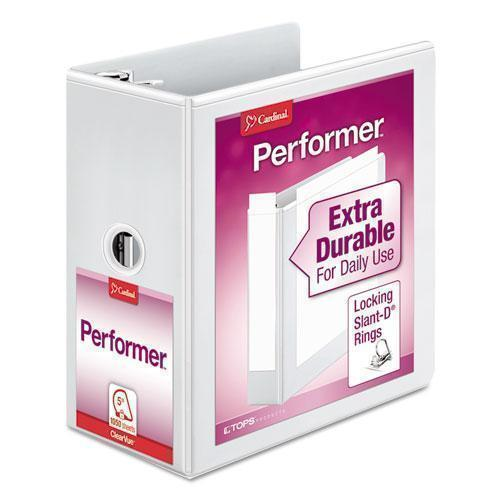 "Cardinal Performer Clearvue Slant-D Ring Binder, 5"" Cap, 11 X 8 1-2, White-Cardinal®-Omni Supply"