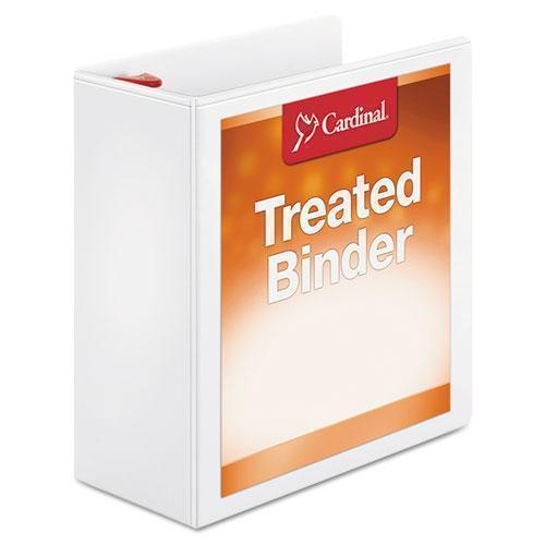 "Cardinal Treated Binder Clearvue Locking Slant-D Ring Binder, 4"" Cap, 11 X 8 1-2, White-Cardinal®-Omni Supply"
