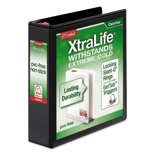 "Cardinal Xtralife Clearvue Non-Stick Locking Slant-D Binder, 2"" Cap, 11 X 8 1-2, Black-Cardinal®-Omni Supply"