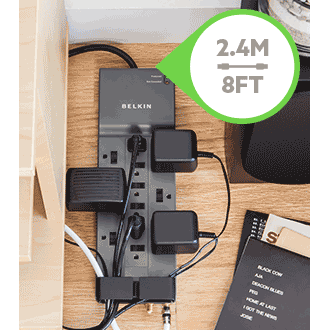 Belkin Professional Series Surgemaster Surge Protector, 12 Outlets, 8 Ft Cord