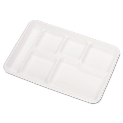 Chinet Heavy-Weight Molded Fiber Cafeteria Trays, 6-Comp, 8 1-2 X 12 1-2, 500-carton-Chinet®-Omni Supply