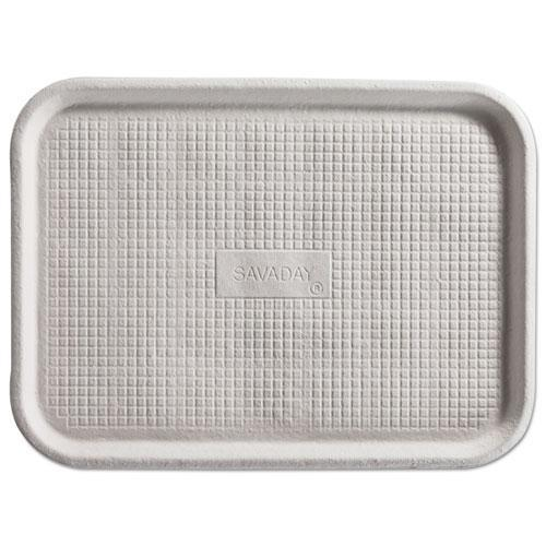 Chinet Savaday Molded Fiber Flat Food Tray, White, 12x16, 200-carton-Chinet®-Omni Supply