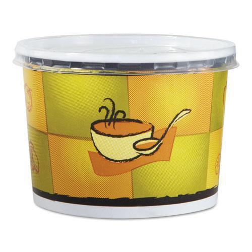 Chinet Streetside Squat Paper Food Container W- Lid, Streetside Design, 12oz, 250-ct-Chinet®-Omni Supply