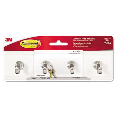 Command Decorative Key Rail, 8w X 1 1-2d X 2 1-8h White-silver, 4 Hooks-pack-Command™-Omni Supply