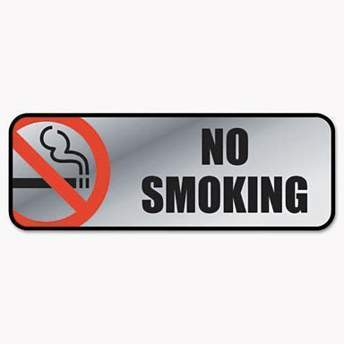 COSCO Brush Metal Office Sign, No Smoking, 9 X 3, Silver-red-COSCO-Omni Supply