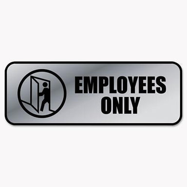 COSCO Brushed Metal Office Sign, Employees Only, 9 X 3, Silver-COSCO-Omni Supply
