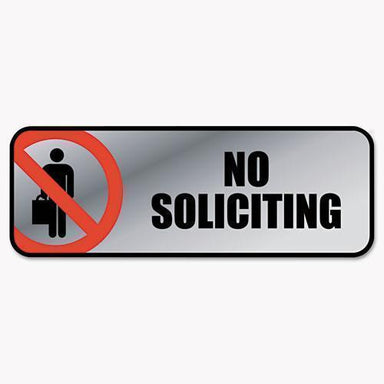 COSCO Brushed Metal Office Sign, No Soliciting, 9 X 3, Silver-red-COSCO-Omni Supply