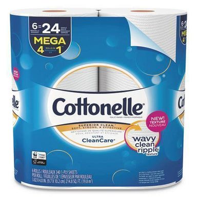 Cottonelle ULTRA CLEANCARE TOILET PAPER, STRONG TISSUE, 1-PLY, 340 SHTS-RL, 6RL-PK, 6 PK-CT-Cottonelle®-Omni Supply