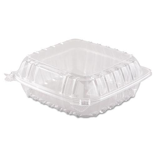 Dart Clearseal Hinged-Lid Plastic Containers, 8 3-10 X 8 3-10 X 3, Clear, 250-carton-Dart®-Omni Supply