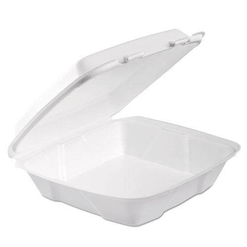 Dart Foam Hinged Lid Container, 1-Comp, 9 X 9 2-5 X 3, White, 100-bag, 2 Bag-carton-Dart®-Omni Supply