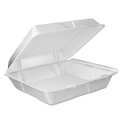 Dart Foam Vented Hinged Lid Containers, 9w X 9 2-5d X 3h, White, 100-pk, 2 Pk-ct-Dart®-Omni Supply