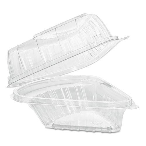 Dart Showtime Clear Hinged Containers, Pie Wedge, 6 2-3 Oz, Plastic, 125-pk, 2 Pk-ct-Dart®-Omni Supply