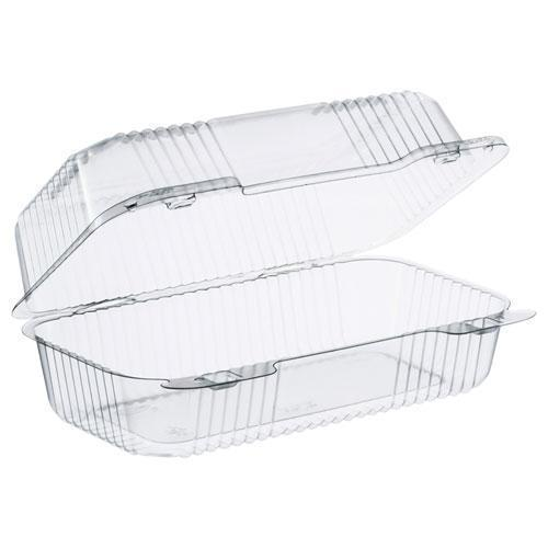 Dart STAYLOCK CLEAR HINGED LID CONTAINERS, 5.4 X 9 X 3.5, CLEAR, 250-CARTON-Dart®-Omni Supply