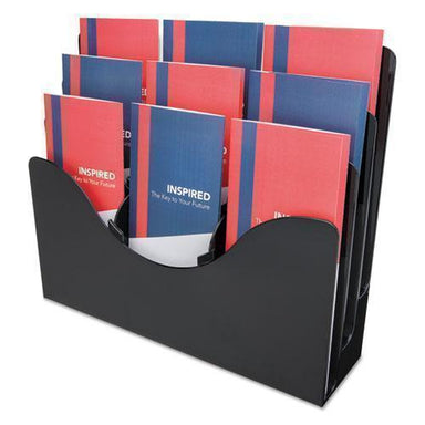 deflect-o 3-TIER DOCUMENT ORGANIZER W-6 REMOVABLE DIVIDERS, 13 3-8 X 3 1-2 X 11 1-2, BLACK-deflecto®-Omni Supply