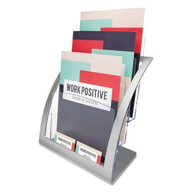 deflect-o 3-TIER LITERATURE HOLDER, LEAFLET SIZE, 11 1-4 X 6 15-16 X 13 5-16, SILVER-deflecto®-Omni Supply