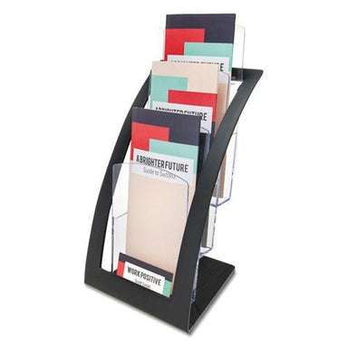 deflect-o 3-TIER LITERATURE HOLDER, LEAFLET SIZE, 6 3-4 X 6 15-16 X 13 4-16, BLACK-deflecto®-Omni Supply
