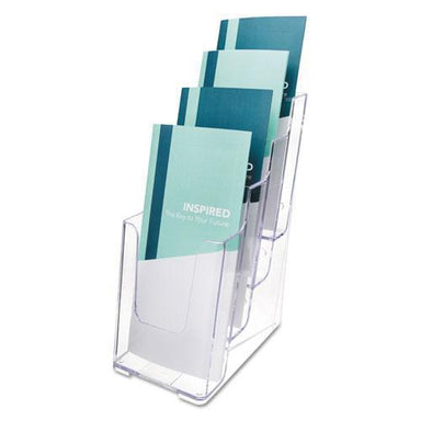 deflect-o 4-COMPARTMENT DOCUHOLDER, LEAFLET SIZE, 4 7-8 X 6 1-8 X 10, CLEAR-deflecto®-Omni Supply