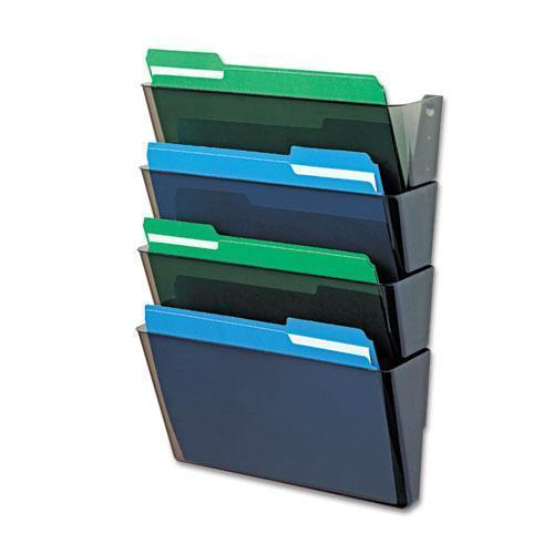 deflect-o DOCUPOCKET STACKABLE FOUR-POCKET WALL FILE, LETTER, 13 X 4 X 7, SMOKE-deflecto®-Omni Supply