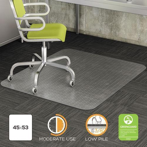 deflect-o DURAMAT MODERATE USE CHAIR MAT, LOW PILE CARPET, FLAT, 45 X 53, RECTANGLE, CR-deflecto®-Omni Supply
