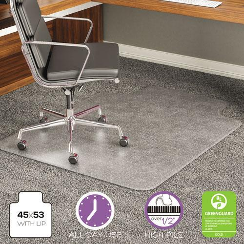 deflect-o EXECUMAT ALL DAY USE CHAIR MAT FOR HIGH PILE CARPET, 45 X 53, WIDE LIPPED, CLEAR-deflecto®-Omni Supply