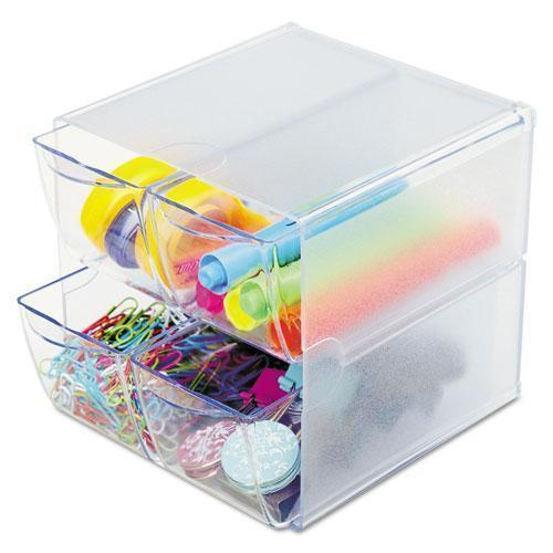 deflect-o STACKABLE CUBE ORGANIZER, 4 DRAWERS, 6 X 7 1-8 X 6, CLEAR-deflecto®-Omni Supply