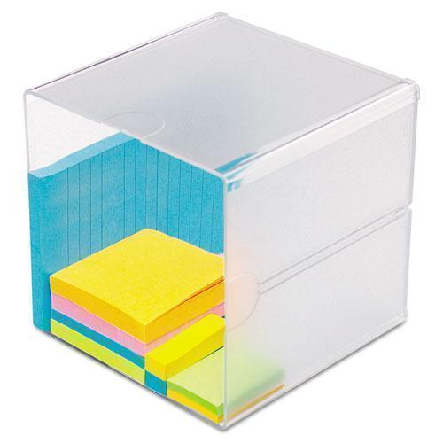 deflect-o STACKABLE CUBE ORGANIZER, 6 X 6 X 6, CLEAR-deflecto®-Omni Supply