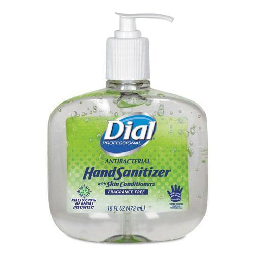 Dial Antibacterial Gel Hand Sanitizer W-moisturizers, 16oz Pump, Fragrance-Free, 8-ct-Dial® Professional-Omni Supply