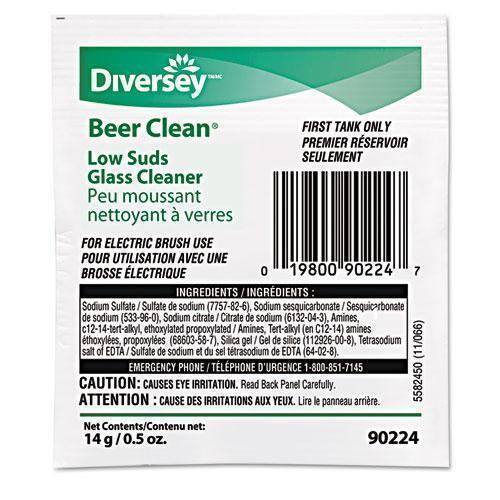 Diversey Beer Clean Glass Cleaner, Powder, .5oz Packet, 100-carton-Diversey™-Omni Supply