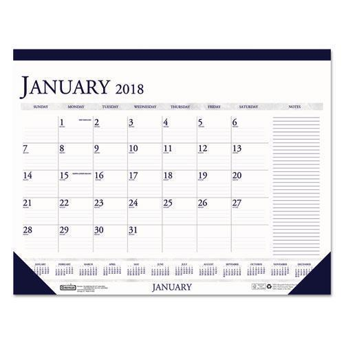 Doolittle RECYCLED TWO-COLOR MONTHLY DESK CALENDAR W-LARGE NOTES SECTION, 18 1-2 X13, 2019-House of Doolittle™-Omni Supply