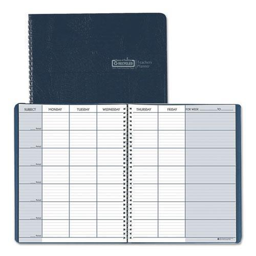 Doolittle Teacher's Planner, Embossed Simulated Leather Cover, 11 X 8-1-2, Blue-House of Doolittle™-Omni Supply