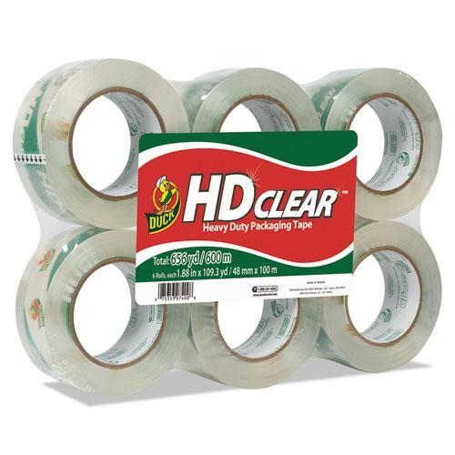 "Duck Heavy-Duty Carton Packaging Tape, 1.88"" X 110 Yards, Clear, 6-pack-Duck®-Omni Supply"