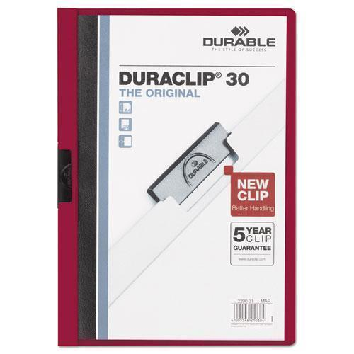Durable VINYL DURACLIP REPORT COVER W-CLIP, LETTER, HOLDS 30 PAGES, CLEAR-MAROON, 25-BOX-Durable®-Omni Supply