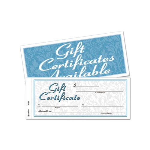 Adams Gift Certificates W-envelopes, 8 X 3 2-5, White-canary, 25-book