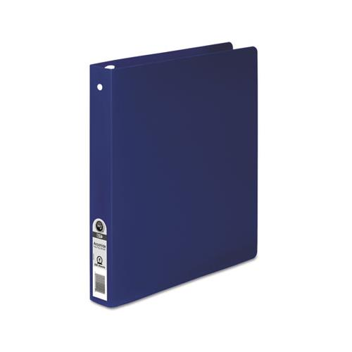 "WilsonJnes Accohide Poly Round Ring Binder, 35-Pt. Cover, 1"" Cap, Dark Blue"