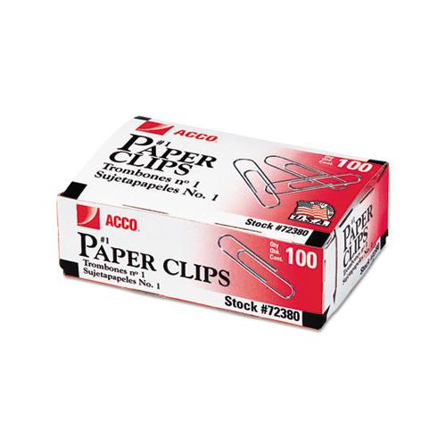 ACCO PAPER CLIPS, SMALL (NO. 1), SILVER, 1000-PACK