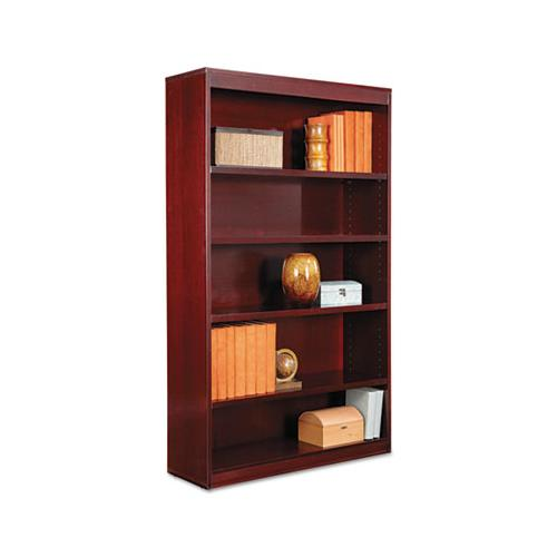 Alera Square Corner Wood Veneer Bookcase, Five-Shelf, 35-5-8 X 11-3-4 X 60, Mahogany