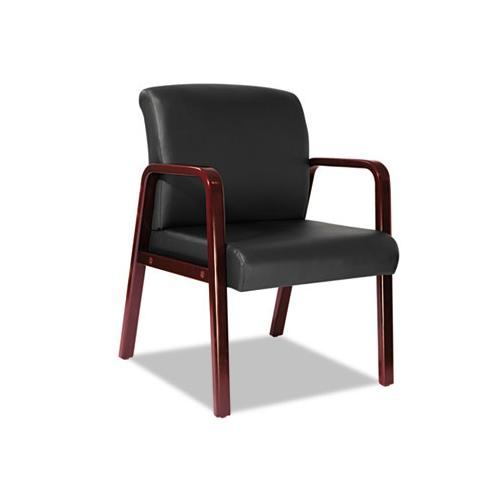 Alera Alera Reception Lounge Series Guest Chair, Cherry-black Leather