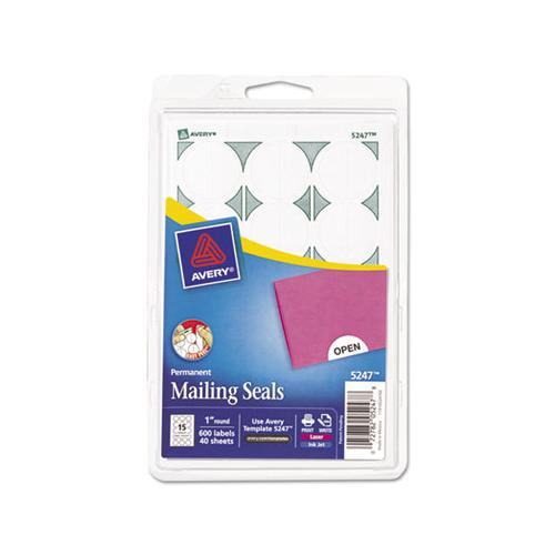 "Avery Printable Mailing Seals, 1"" Dia., White, 600-pack"