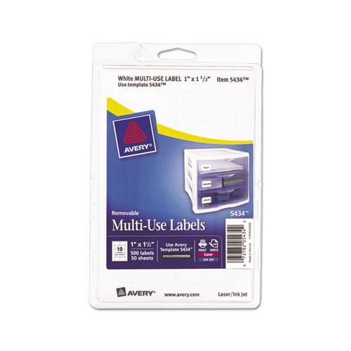Avery Removable Multi-Use Labels, 1 X 1 1-2, White, 500-pack